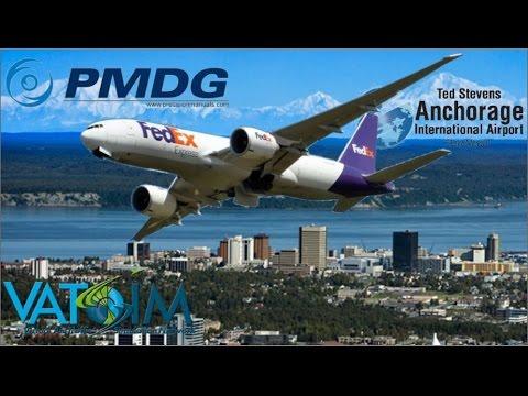 PMDG 777-200LR(F) hauls freight to Anchorage PANC on Vatsim