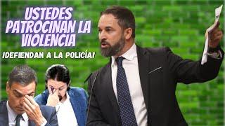COLOSAL discurso de SANTIAGO ABASCAL contra SÁNCHEZ e IGLESIAS por AZUZAR los DISTURBIOS CALLEJEROS
