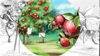сад яблонь, рисунок с помощью планшета Wacom