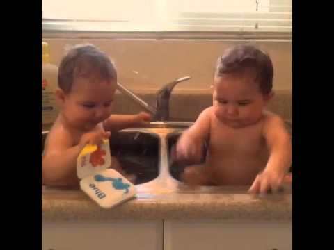 4-21-2105- boys taking bath in the kitchen sink, very cute. - YouTube