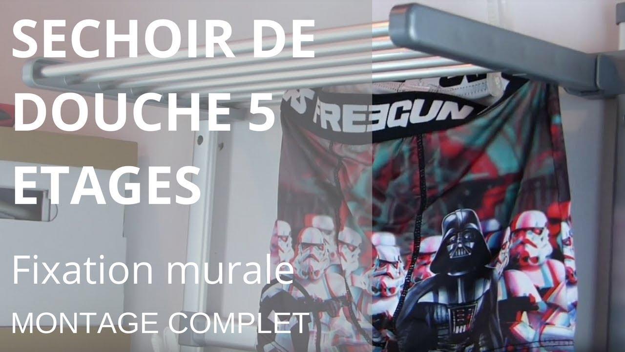 Sechoir De Douche 5 étages Fixation Murale Le Montage