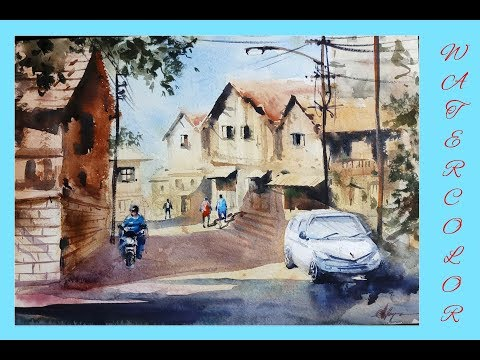 A village watercolor painting by Achintya Hazra