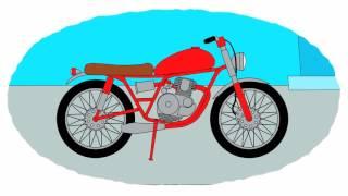 Zeichentrick-Malbuch - die Motorräder. Teil 1.