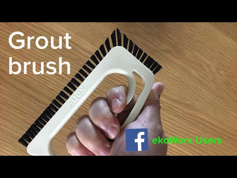 Unboxing and quick demo Koh GROUT BRUSH with EkoWorx cleaner - How to clean grout moldy shower