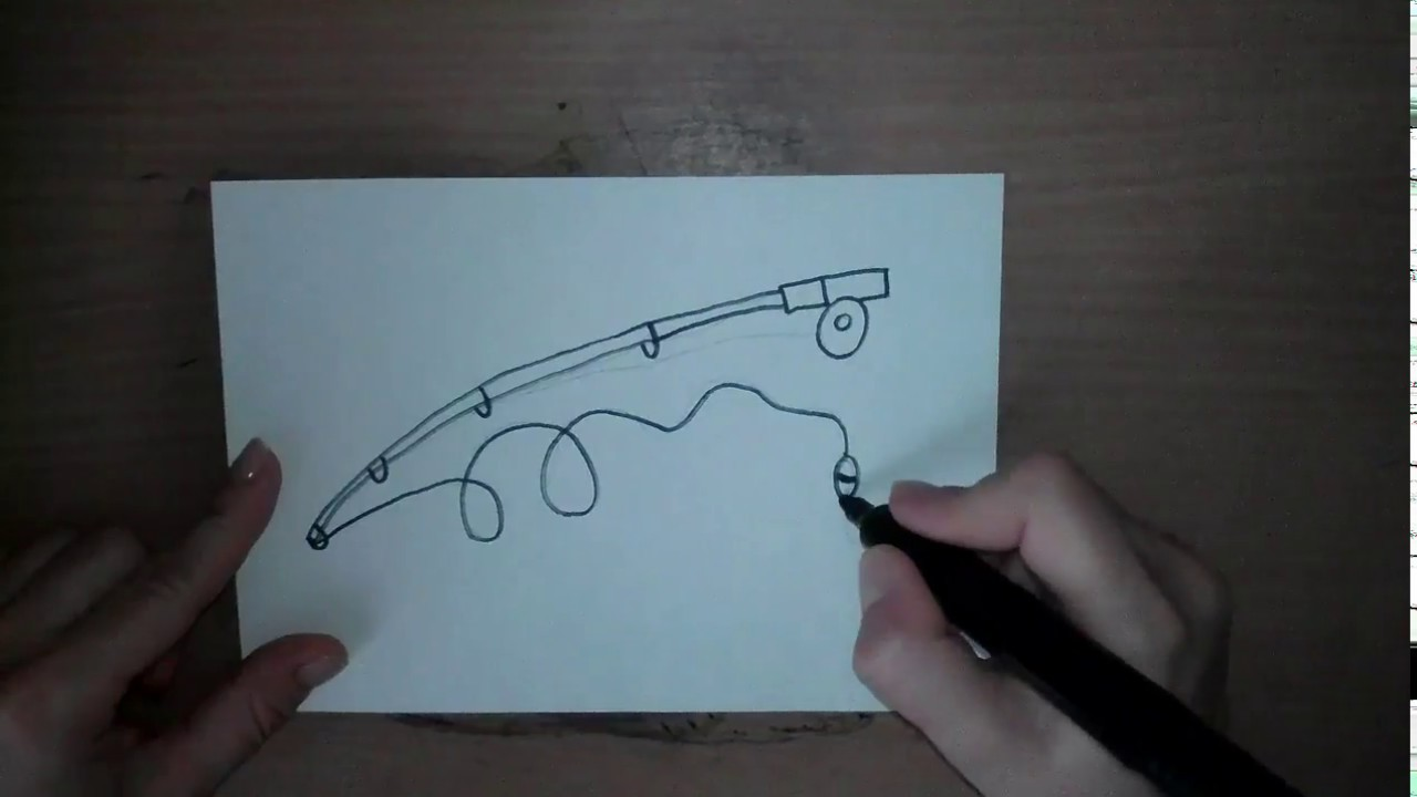 рисуем удочку Comment Dessiner Un Canne A Peche How To Draw A Fishing Pole