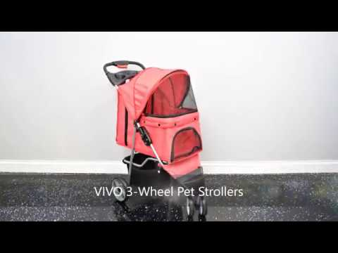 VIVO Three Wheel Pet Stroller, for Cat, Dog and More, Fordable Carrier Strolling Cart