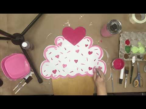 Unfinished Wood Valentines Cupcake Cutout, DIY Craft Tutorial