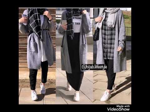 [VIDEO] - تنسيقات ملابس شتاء  للمحجبات  2020 باللون الرمادي winter lookbook 1
