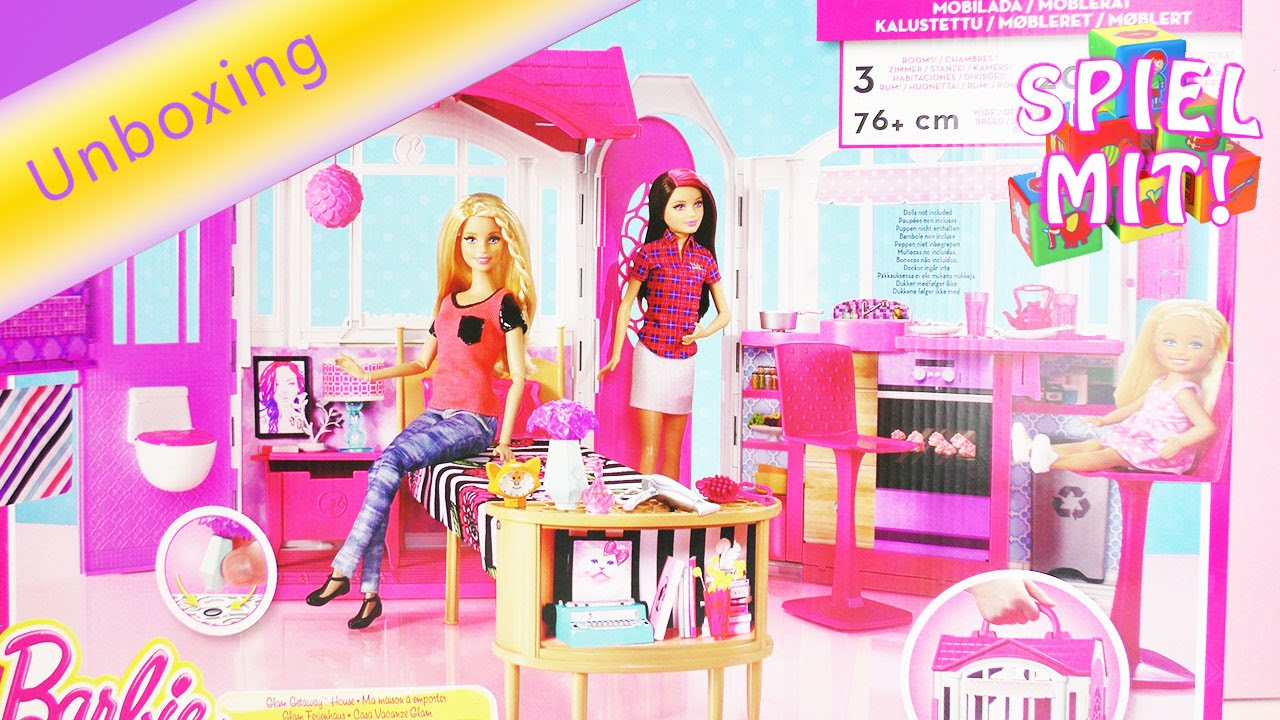 barbie glam haus ferienhaus deutsch urlaub im puppenhaus unboxing mit wc k che und zubeh r. Black Bedroom Furniture Sets. Home Design Ideas