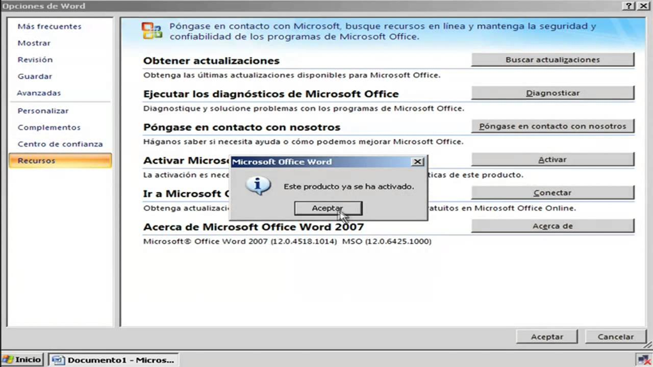 Microsoft Office Home and Student 2007 activa…