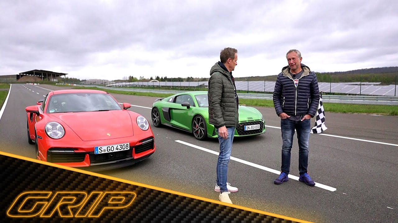 Duell der Allrad-Supersportler - Porsche 911 Turbo vs. Audi R8 V10 | GRIP