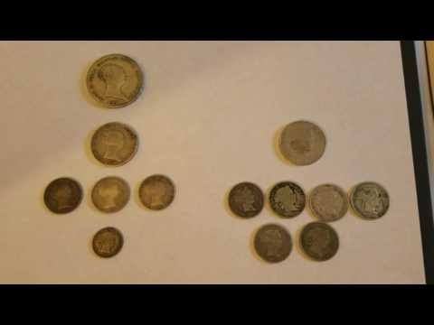 Spain Silver Coins Reales and Escudos from mid-1800's
