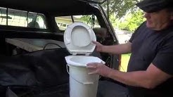 DIY camping toilet with stable connected toilet seat to 5 gallon bucket