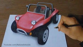 Drawing 3D Beach Buggy, Trick Art | Time Lapse