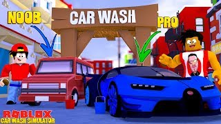 ROBLOX CAR WASH SIMULATOR - DONUT WASHES ALL THE PRO CARS WHILE ROPO SEULEMENT WASHES NOOB ONES!!