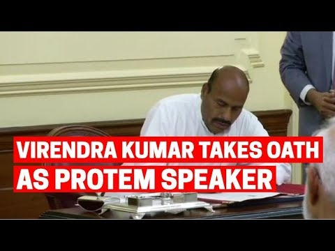 BJP MP Virendra Kumar takes oath as Protem speaker