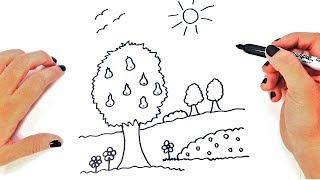 How to draw an Easy Landscape for Kids