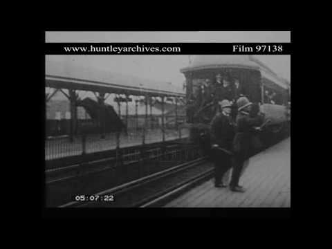 Train Departs from Philadelphia Railroad Station in 1904.  Archive film 97138