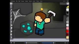Minecraft Steve Diamond Mining  Fan Art (iPad Speed Draw)