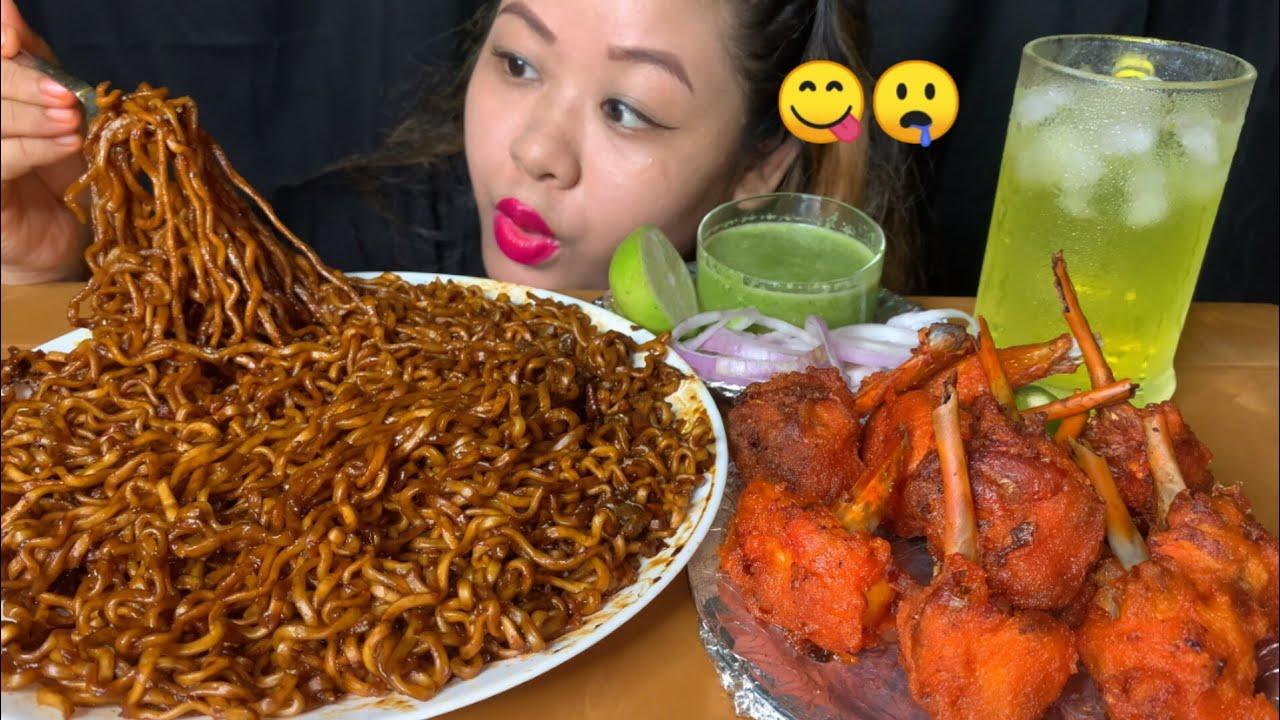 BLACK BEAN NOODLES/JJANGMEAN,CHICKEN LOLLIPOP WITH CHILLI SAUCE MUKBANG   ASMR   FOOD EATING SHOW