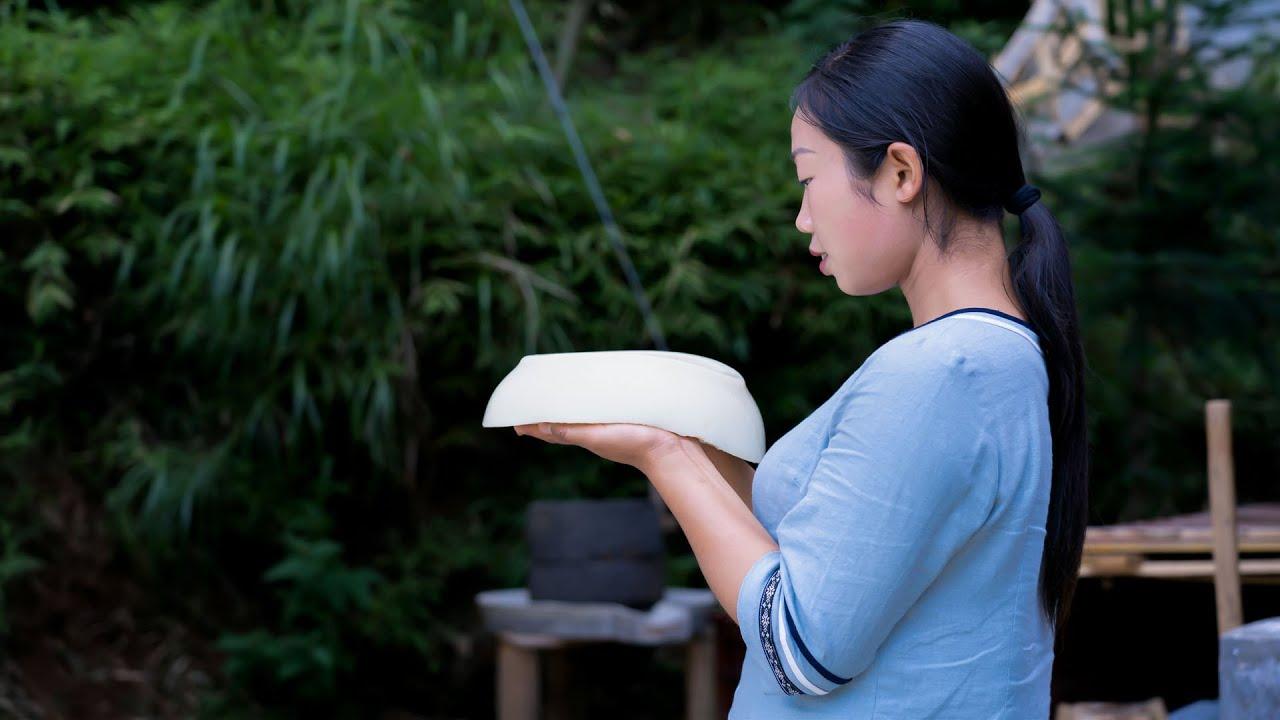 Chinese food Rice tofu | 米豆腐,從燒石灰開始,你們吃过嗎?| 野小妹wild girl 貴州 美食