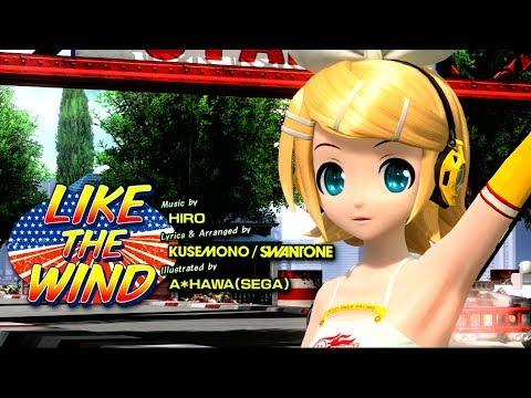 [60fps] LIKE THE WIND - Kagamine Rin 鏡音リン Project DIVA Arcade English lyrics Romaji subtitles