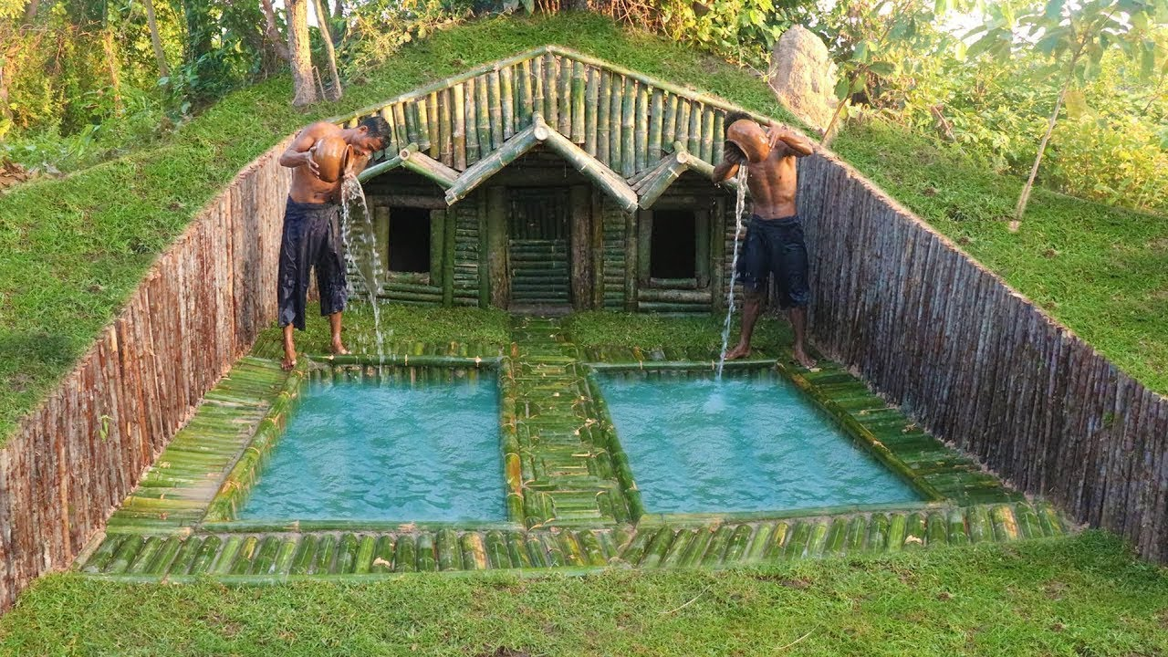 Build house under the wood roots add two swimming pool for Pool designs under 30000