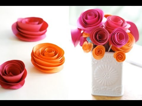 how to make a colorful rose flower from printer paper