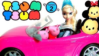 Elsa Goes Shopping for Disney Tsum Tsum Series 2 Driving Barbie's Car with Pig George & Peppa Pig