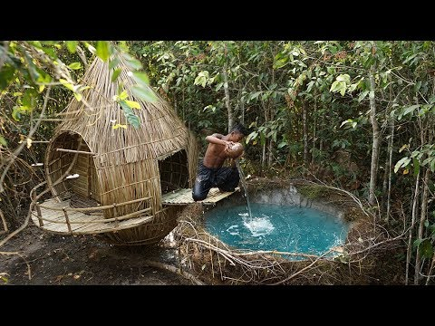 Building Unbelievable Wooden Bird Nest Swimming Pool By Ancient Skill