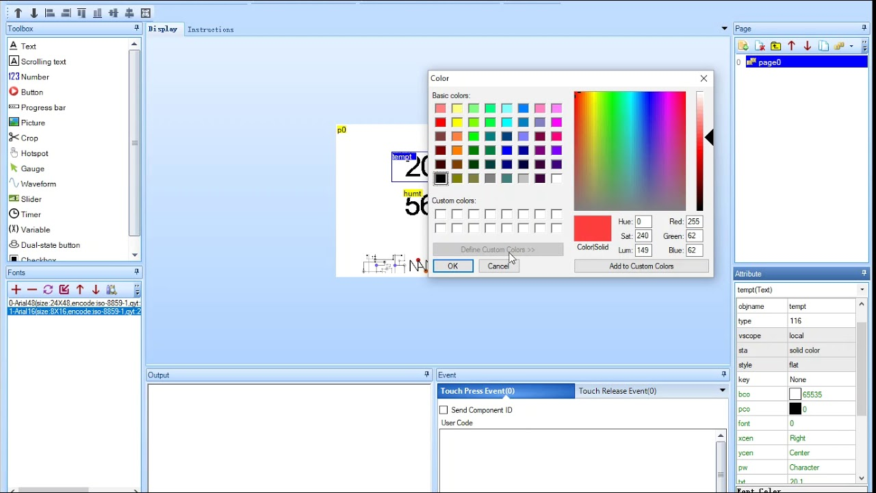Build an User Interface using Nextion Editor