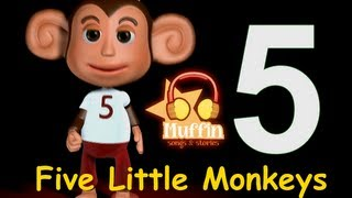 Muffin Songs - Five Little Monkeys   | nursery rhymes & children songs with lyrics
