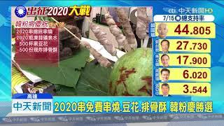 20190715中天新聞 慶祝韓國瑜初選勝 台南韓粉美食吃免錢