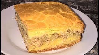 Заливной пирог с рыбой и картошкой. Рыбный пирог из консервов. Пирог с сайрой.
