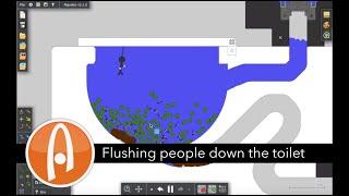 Algodoo GameplayFlushing tiny people down the toilet.