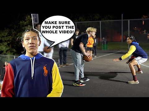 Trash Talker Gets MAD After LOSING! 5v5 Basketball At The Park!