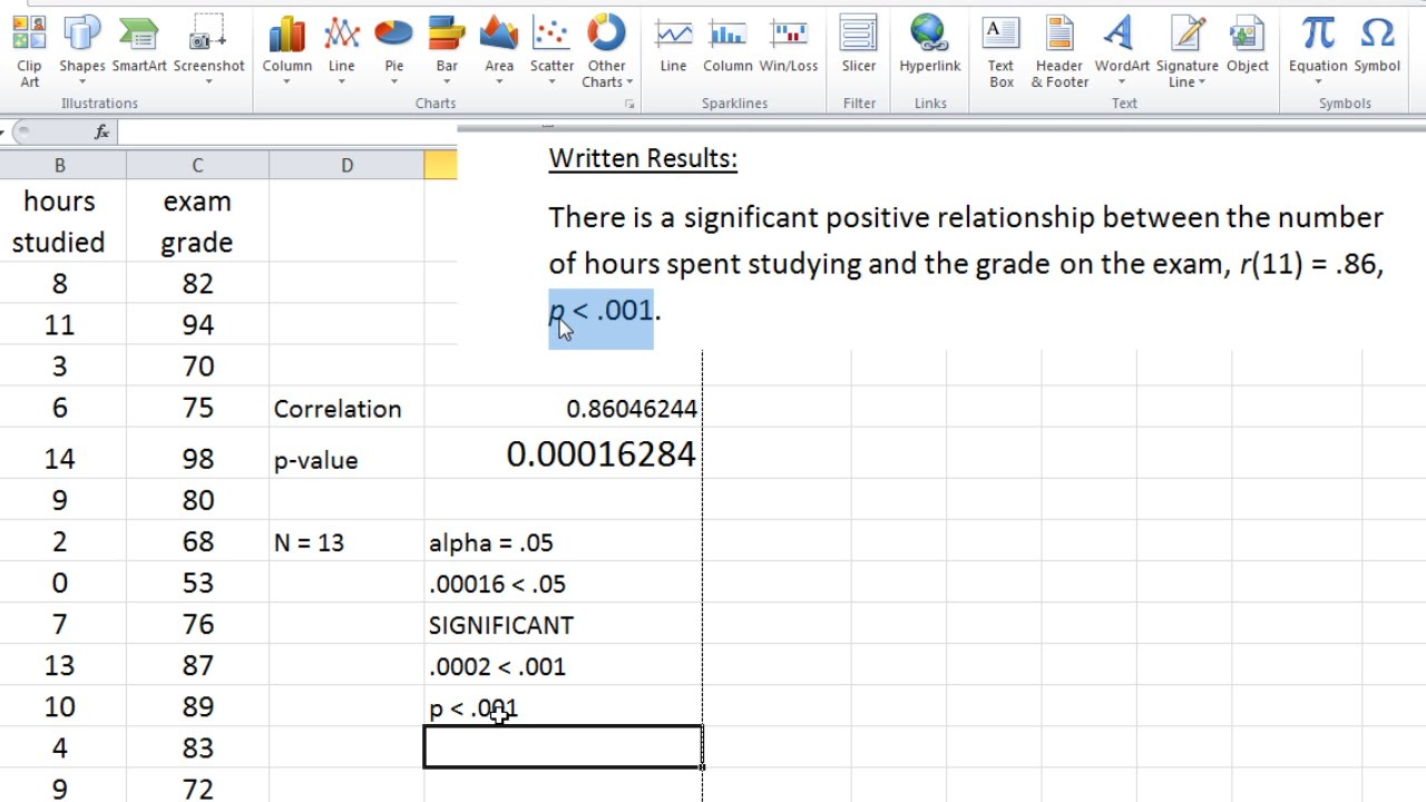 How to Calculate a Correlation in Excel   Function Approach Part 20    P Value