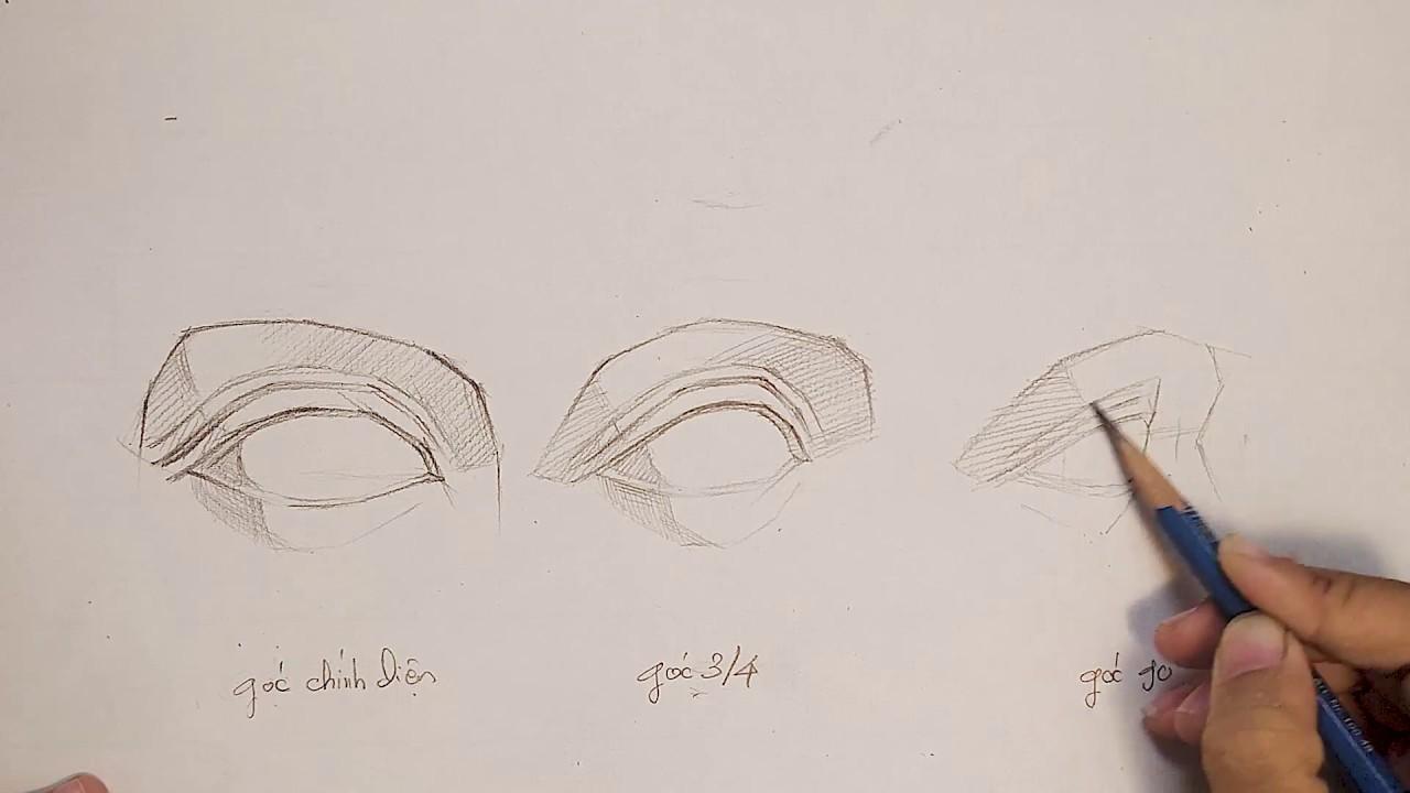 Hướng dẫn vẽ khối mắt tượng thạch cao các góc độ khác nhau – Lớp dạy vẽ Art Land