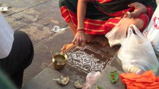 B-Roll: Morning Kolam by the Ganges