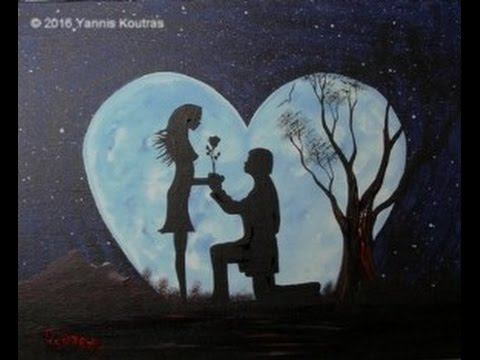 Moon my Heart – Acrylic painting on Canvas for Beginners