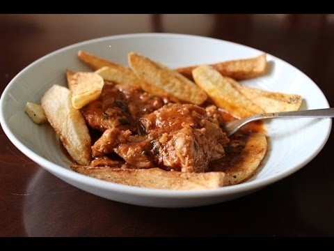 Greek Chicken Stew with French Fries