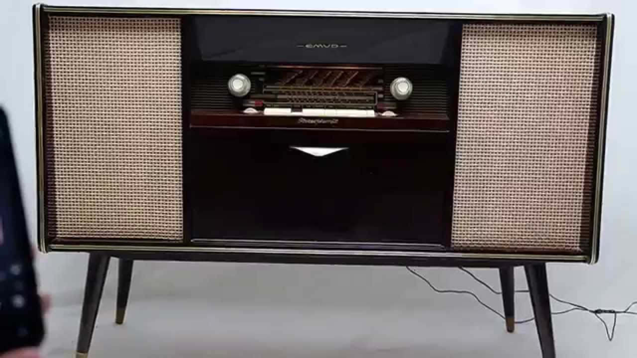 Vintage Mid Century Modern Emud German Stereo Console Bluetooth AM FM  Record player - Vintage Mid Century Modern Emud German Stereo Console Bluetooth AM