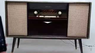 Vintage Mid Century Modern Emud German Stereo Console Bluetooth Am Fm Record Player