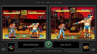 Dual Longplay [43] Fatal Fury: King of Fighters (SNES vs Neo Geo CD) Side by Side Comparison