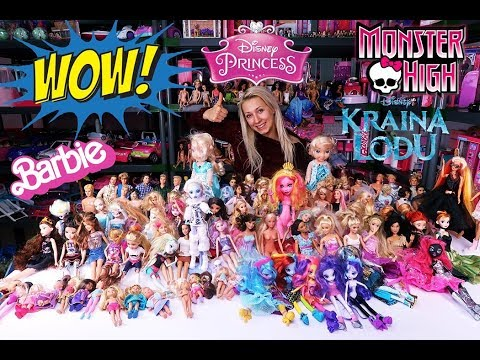 My huge collection of Barbie Monster High dolls, Disney Princess 💕 Especially for 50,000 subscribers