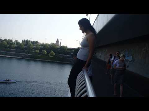 Into the Danube, from Donauinsel Bridge.