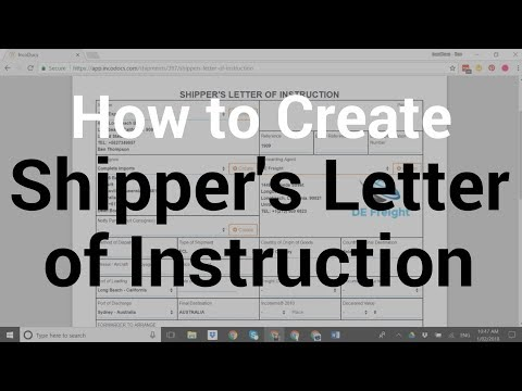 How To Create Shipper's Letter of Instruction / Interim Receipt for Export Freight Forwarder