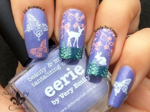 Eerie Forest Stamping Nail Art