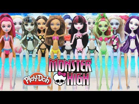 Play Doh 12 Monster High Dolls Frankie Stein Draculaura Clawdeen Wolf Lagoona Blue Gigi Swimsuits