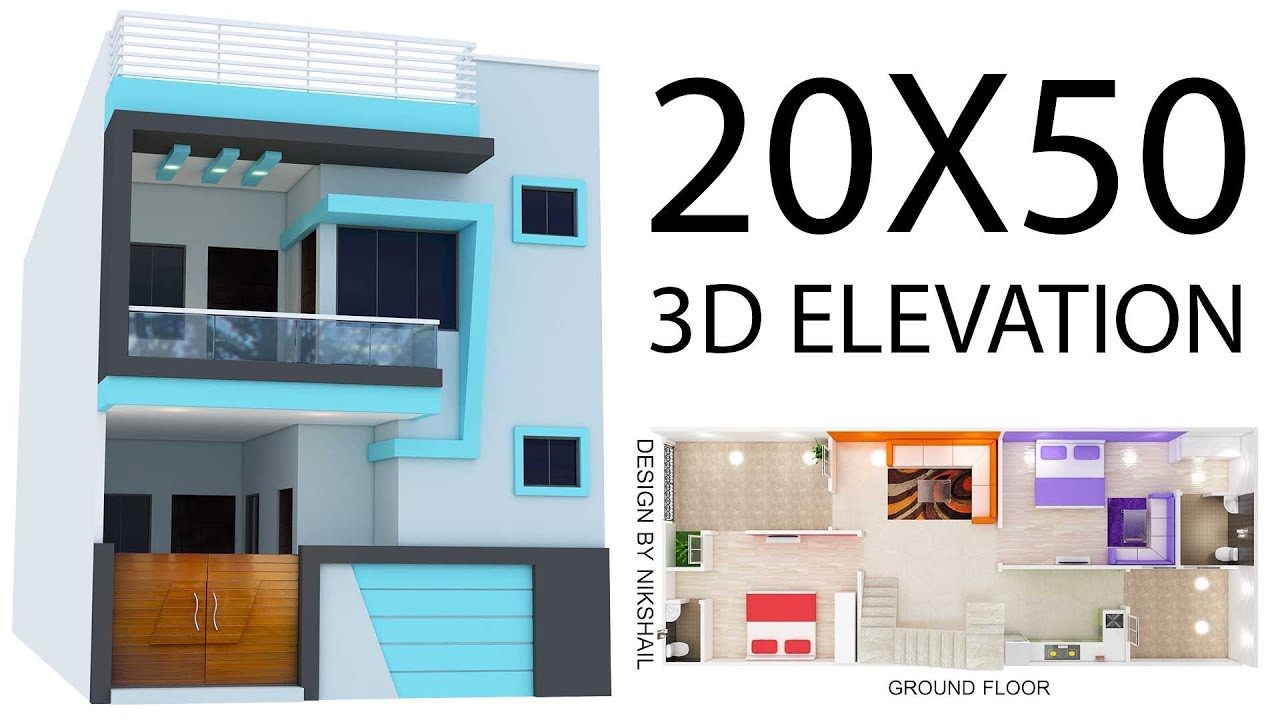 20x50 house plan with 3d elevation by nikshail